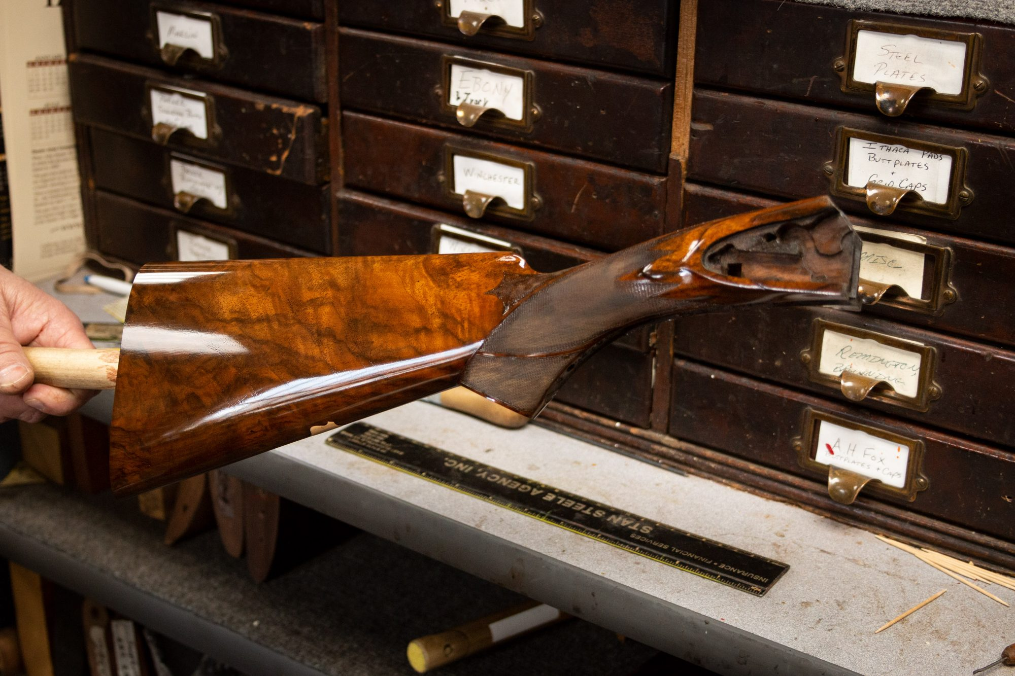 Photo of an L.C. Smith 10 gauge shotgun undergoing restoration, by Turnbull Restoration of Bloomfield, NY