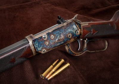 Photo of a new, Turnbull-finished Winchester 1894, featuring restoration grade metal and wood finishes by Turnbull Restoration of Bloomfield, NY