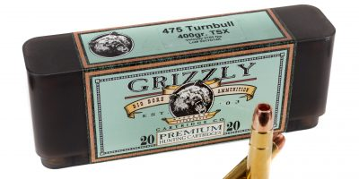 Photo of a box of Grizzly Premium Cartridges loaded with .475 Turnbull 400gr TSX