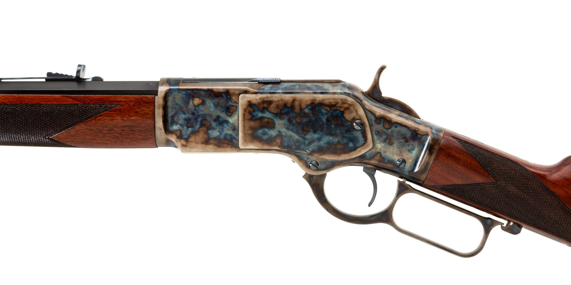 Photo of a Turnbull Finished Winchester 1873 Deluxe Sporter, featuring bone charcoal color case hardening