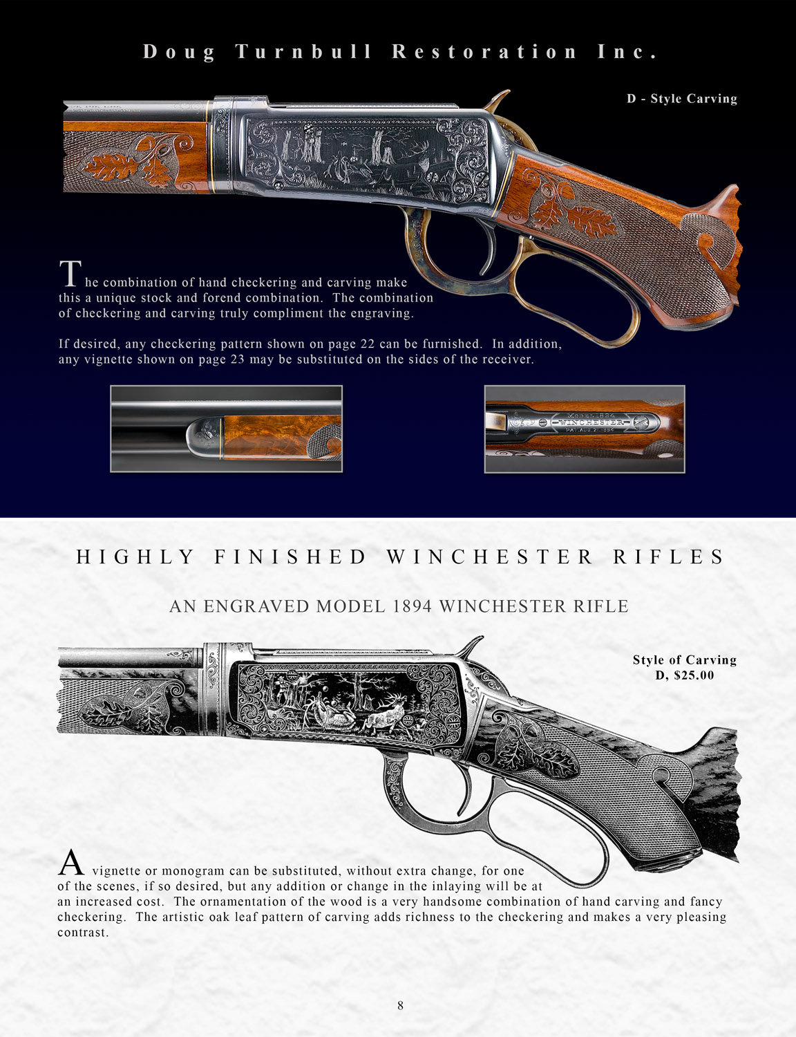 Page from the Winchester Highly Finished Firearms catalog, by Turnbull Restoration of Bloomfield, NY