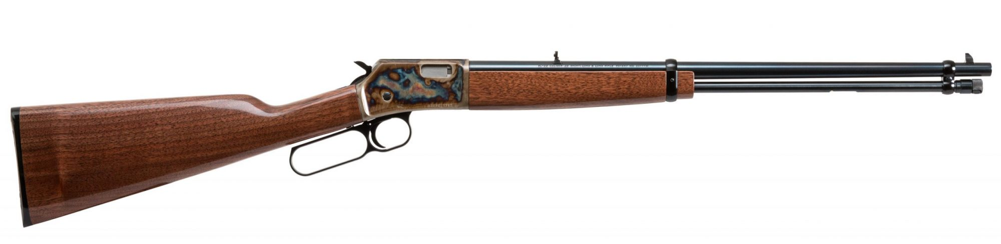 Photo of a Turnbull Finished Browning BL-22, featuring bone charcoal color case hardening by Turnbull Restoration