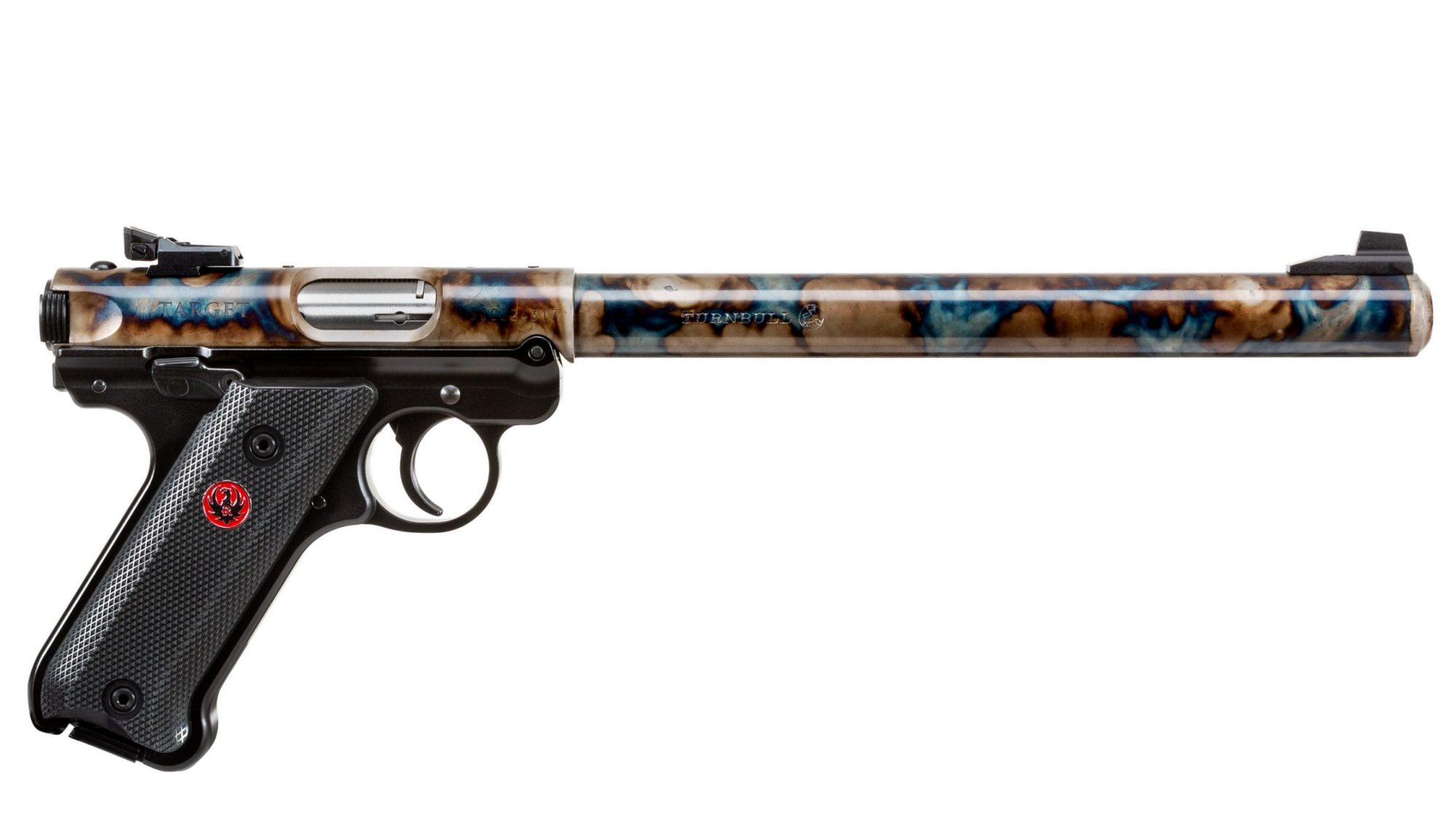 """Photo of a Turnbull Finished Ruger Mark IV Target model with 10"""" barrel, featuring traditional bone charcoal color case hardening by Turnbull Restoration of Bloomfield, NY"""