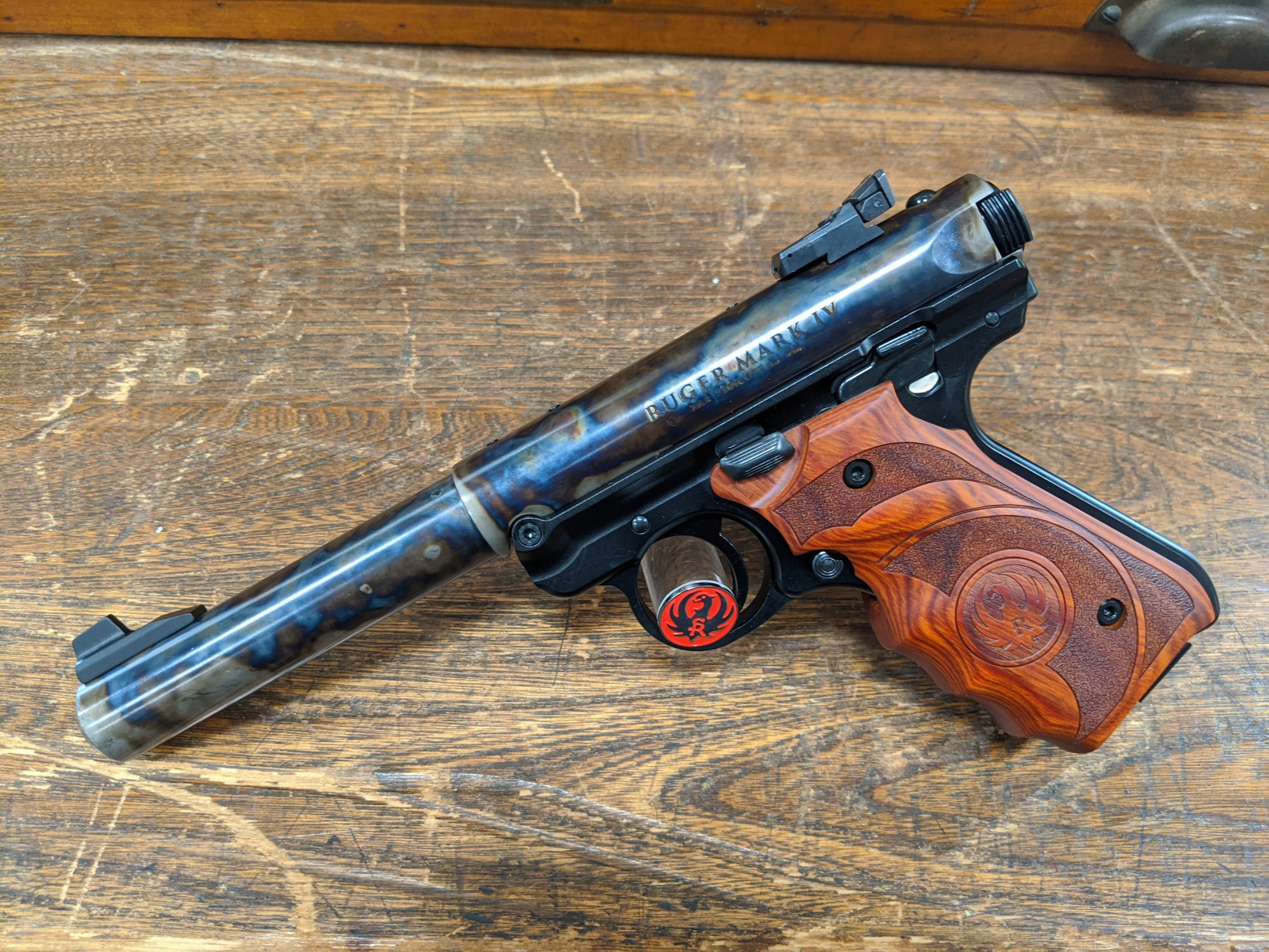 Photo of a Turnbull Finished Ruger Mark IV Target model, featuring traditional bone charcoal color case hardening by Turnbull Restoration of Bloomfield, NY