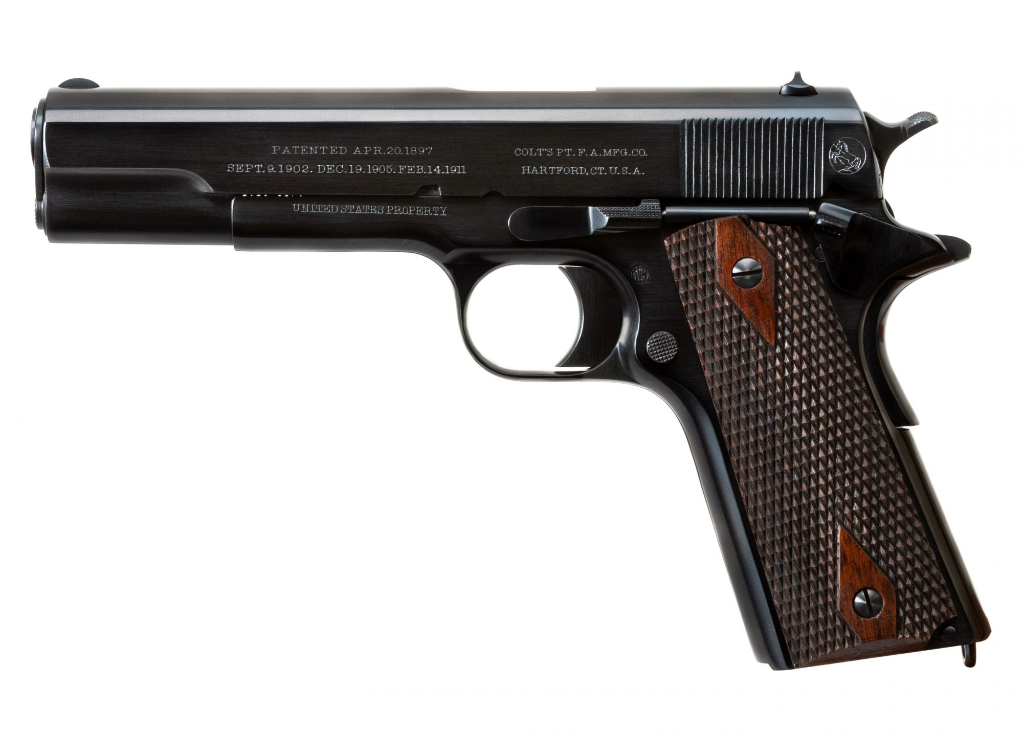 Photo of a restored Colt Model 1911 from 1912, restored by Turnbull Restoration of Bloomfield, NY