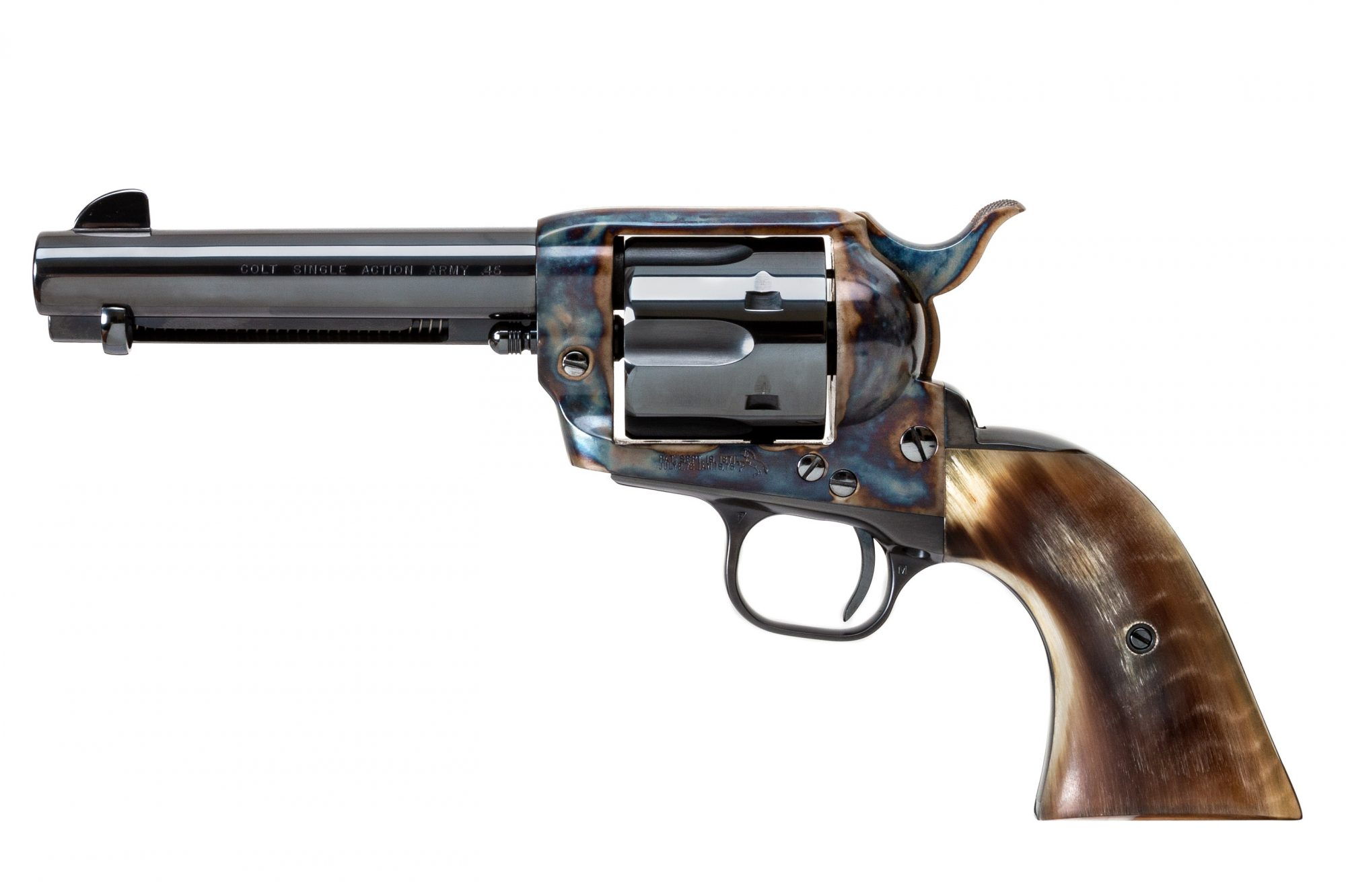 Photo of a 3rd Generation Colt SAA revolver, with custom grips, 1st Generation cylinder conversion, and restoration grade metal finishes by Turnbull Restoration of Bloomfield, NY