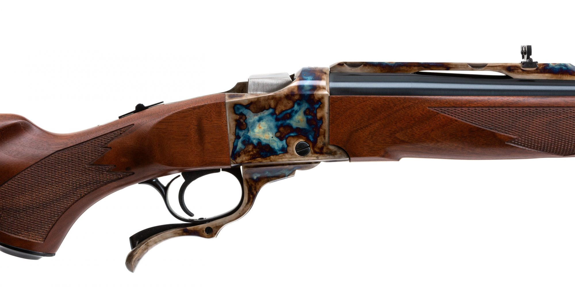 Photo of a Ruger No. 1 in .475 Turnbull, featuring bone charcoal color case hardening by Turnbull Restoration of Bloomfield, NY