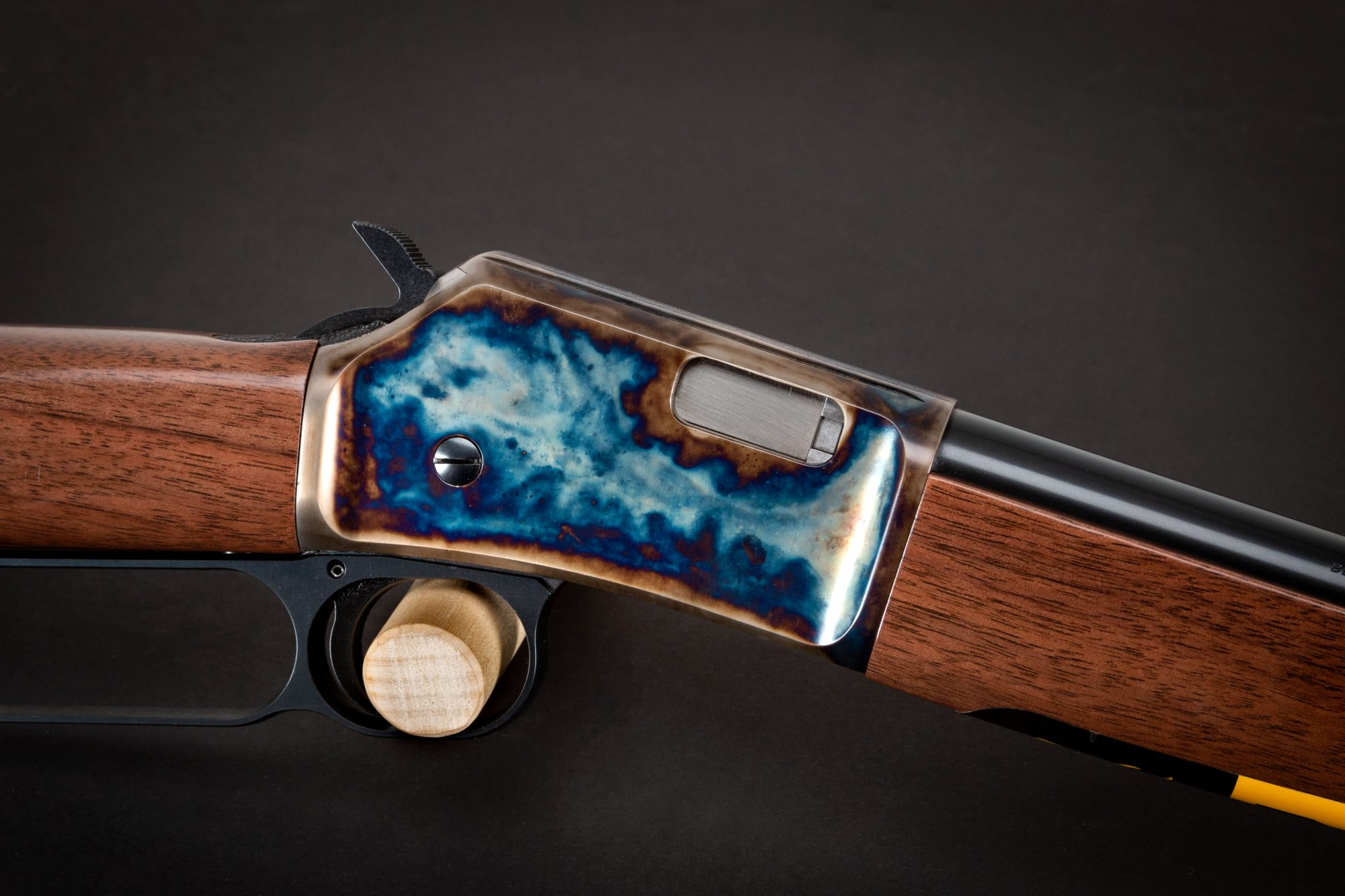 Photo of a Turnbull Finished Browning BL-22, featuring bone charcoal color case hardening by Turnbull Restoration of Bloomfield, NY