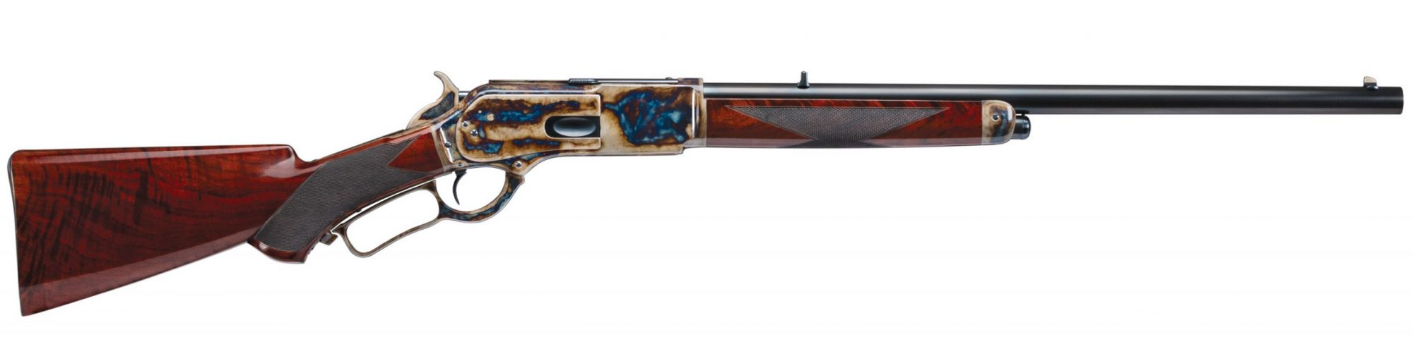 Photo of a restored Winchester 1876 Second Model from 1881, featuring bone charcoal color case hardening and other period-correct finishes, by Turnbull Restoration of Bloomfield, NY