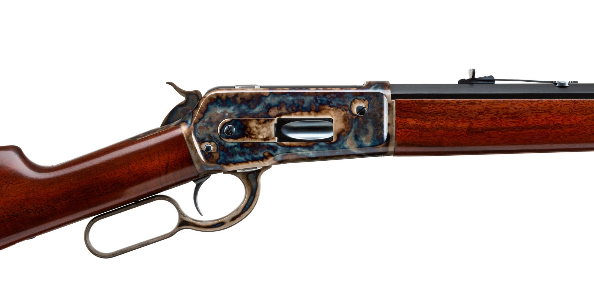 Photo of a Winchester Model 1886 reproduction - The Turnbull Restoration Model 1886 features classic era metal finishes including bone charcoal color case hardening, charcoal bluing and rust bluing