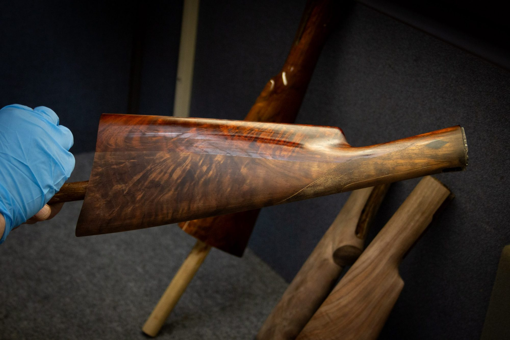 Photo of a restored Winchester Model 1897 shotgun, during restoration work by Turnbull Restoration of Bloomfield NY