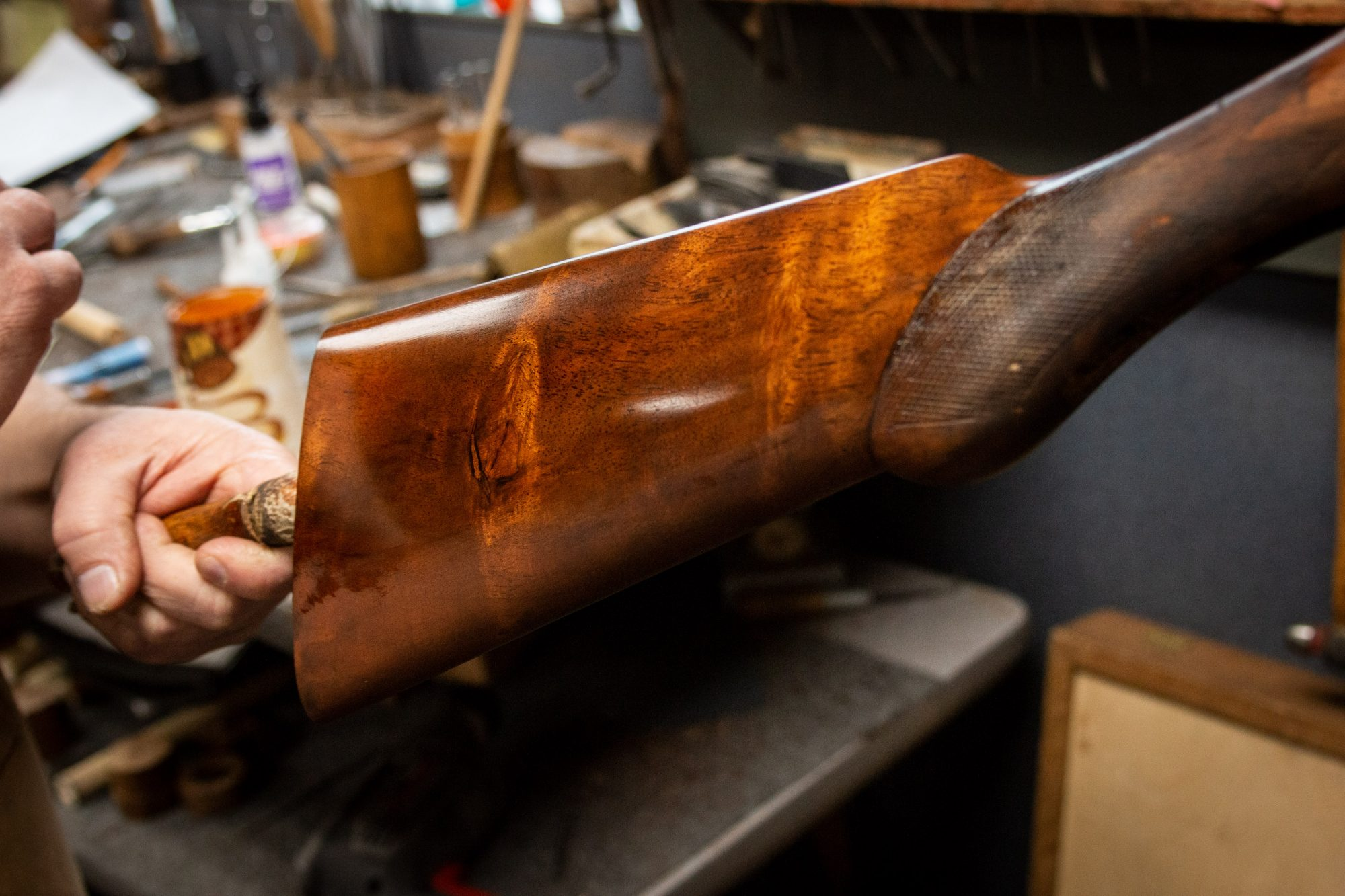 Photo of a restored L.C. Smith 12 gauge shotgun, during restoration work by Turnbull Restoration of Bloomfield NY