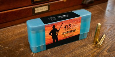 Photo of a box of .475 Turnbull big bore hunting cartridges in 400 grain Barnes Solid