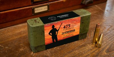 Photo of a box of .475 Turnbull big bore hunting cartridges in 400 grain Barnes TSX
