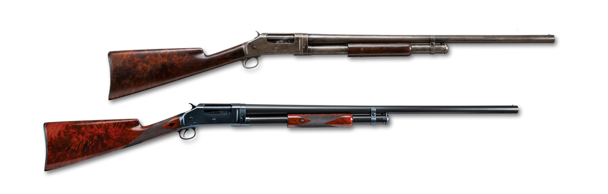 Photo of a restored Winchester Model 1897 shotgun, before and after restoration work by Turnbull Restoration of Bloomfield NY