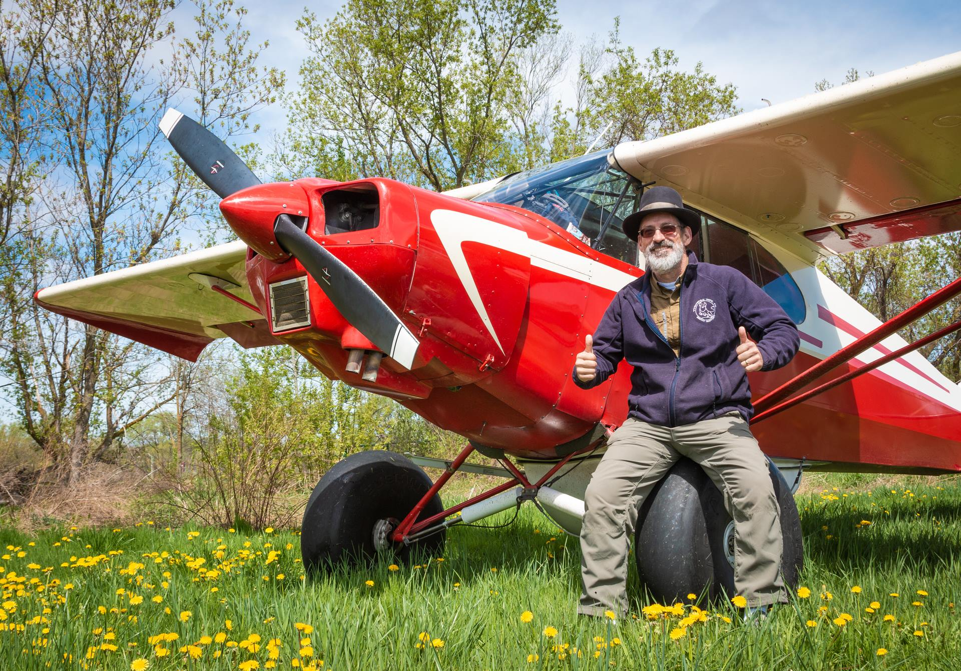 Photo of Doug Turnbull of Turnbull Restoration with his 1946 Piper PA-12 Super Cruiser bush plane