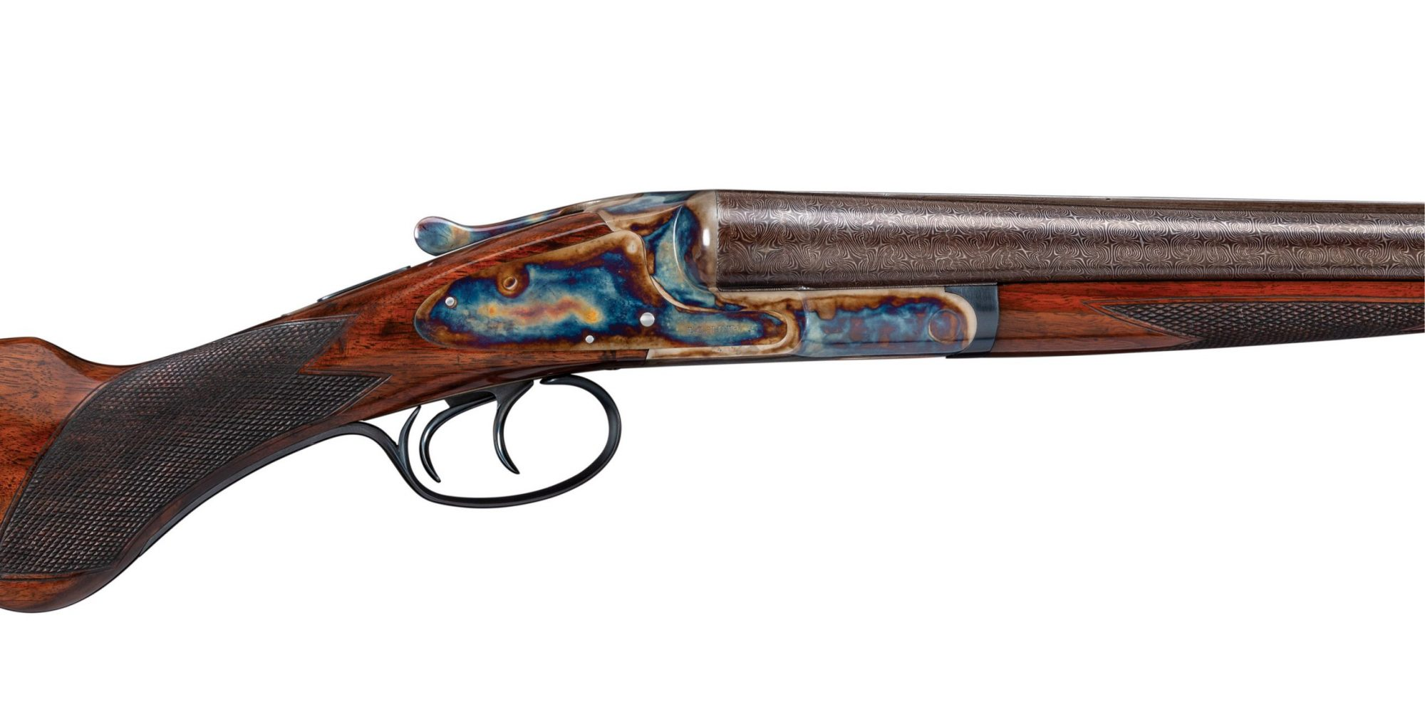 Photo of a restored L.C. Smith 12 gauge shotgun, after restoration work by Turnbull Restoration of Bloomfield NY