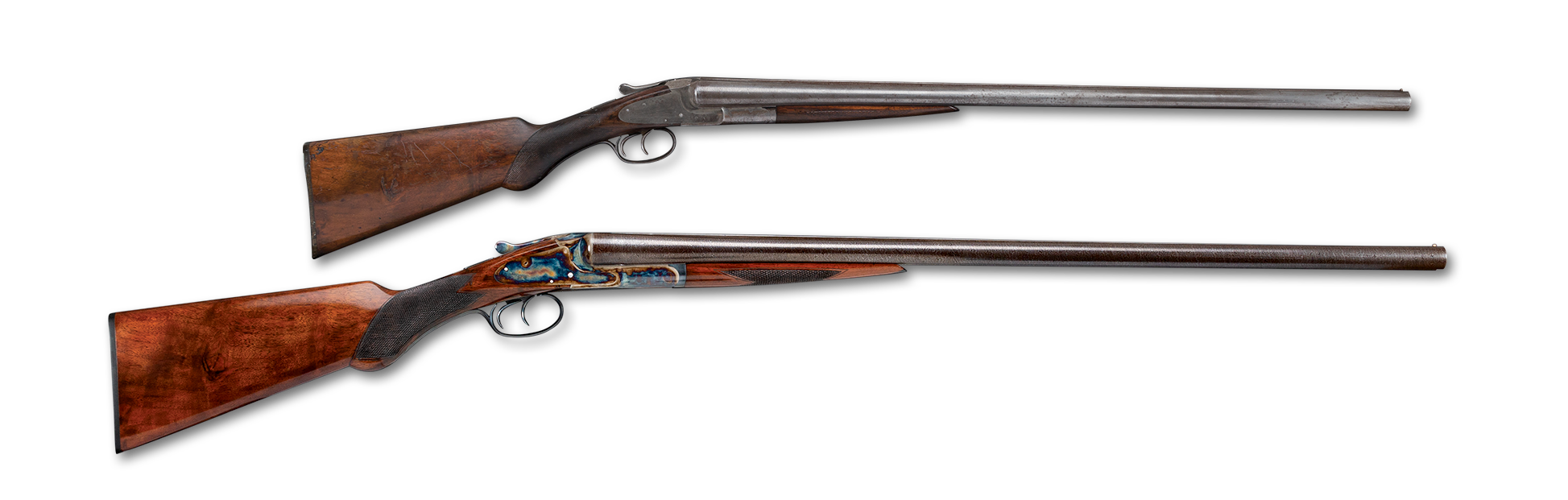 Before and after photos of a restored L.C. Smith 12 gauge shotgun, work by Turnbull Restoration of Bloomfield NY