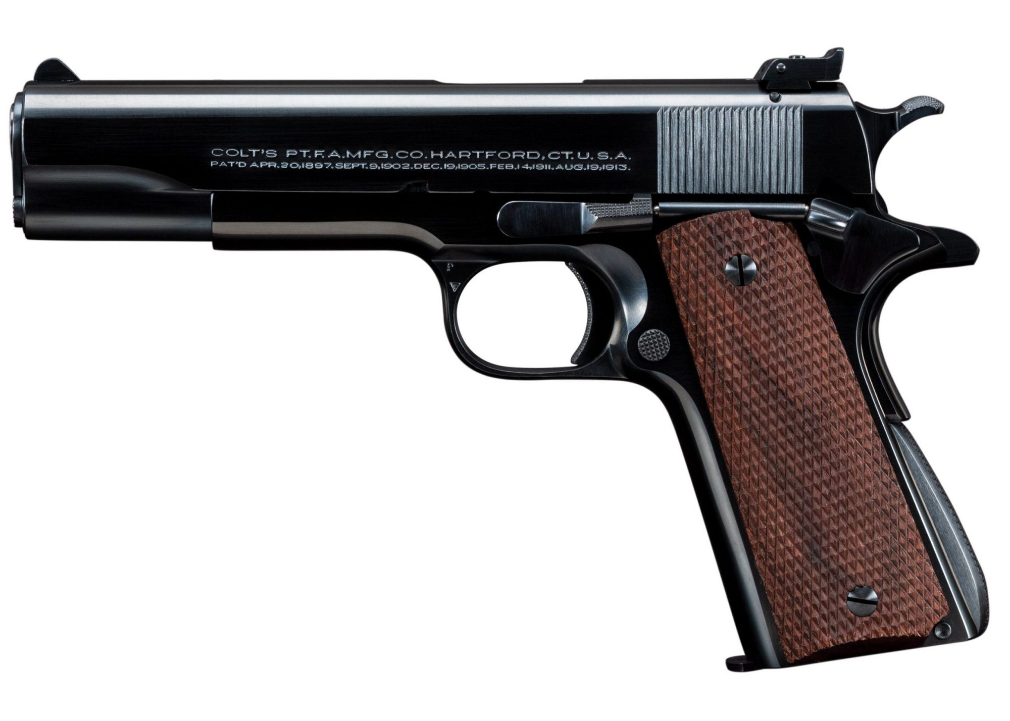 Photo of a Colt Super Match .38 Super Automatic pistol after restoration by Turnbull Restoration of Bloomfield, NY