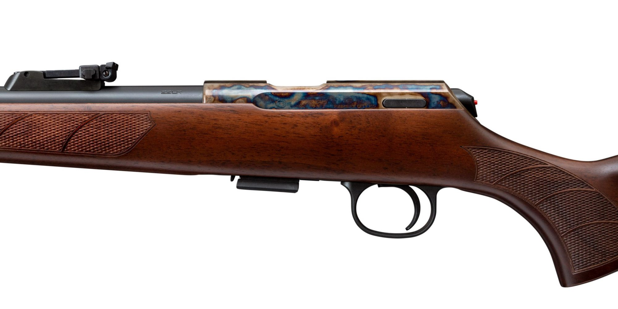 Photo of a CZ 457 Lux featuring bone charcoal color case hardening by Turnbull Restoration of Bloomfield, NY