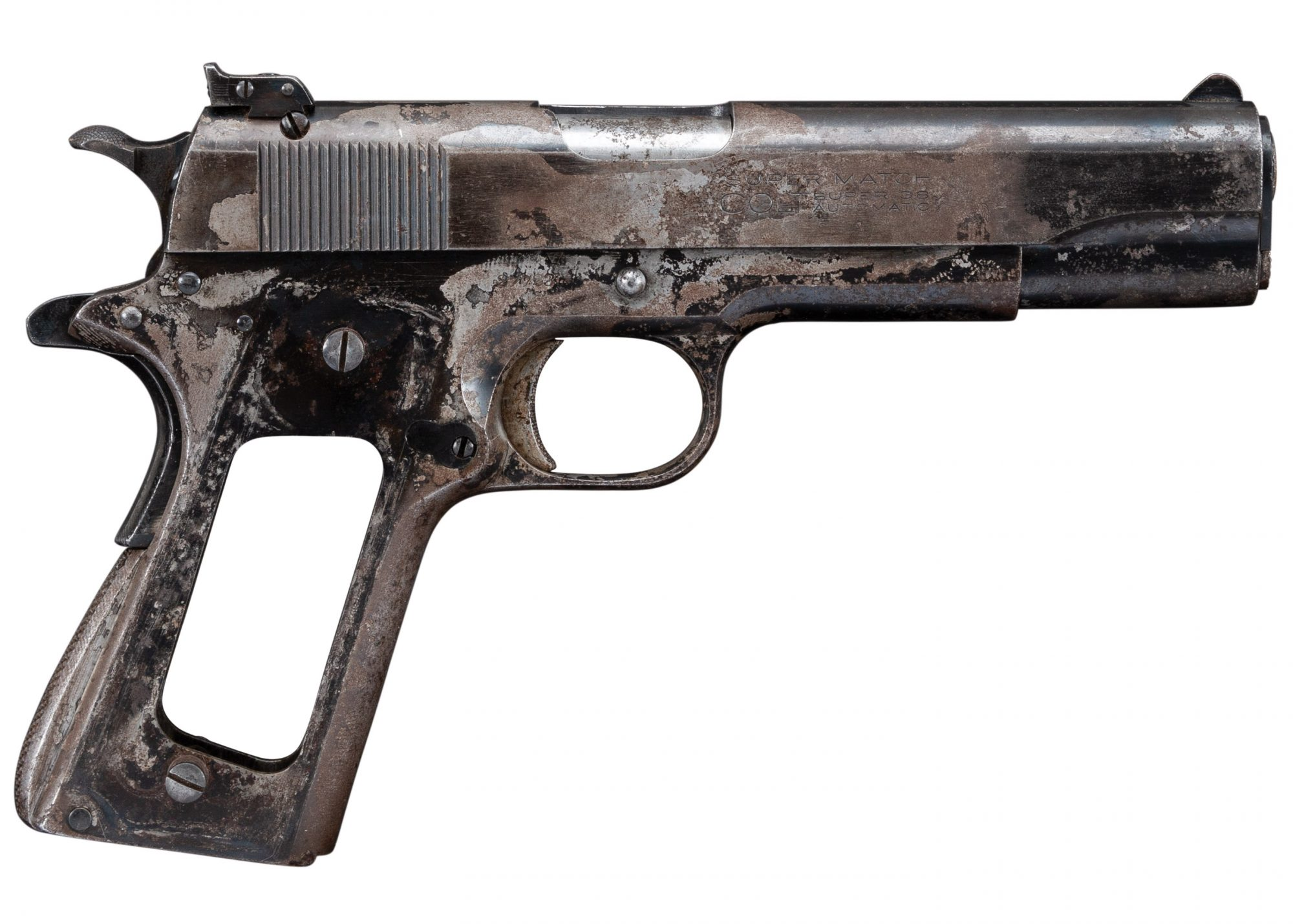 Photo of a Colt Super Match .38 Super Automatic pistol before restoration by Turnbull Restoration of Bloomfield, NY