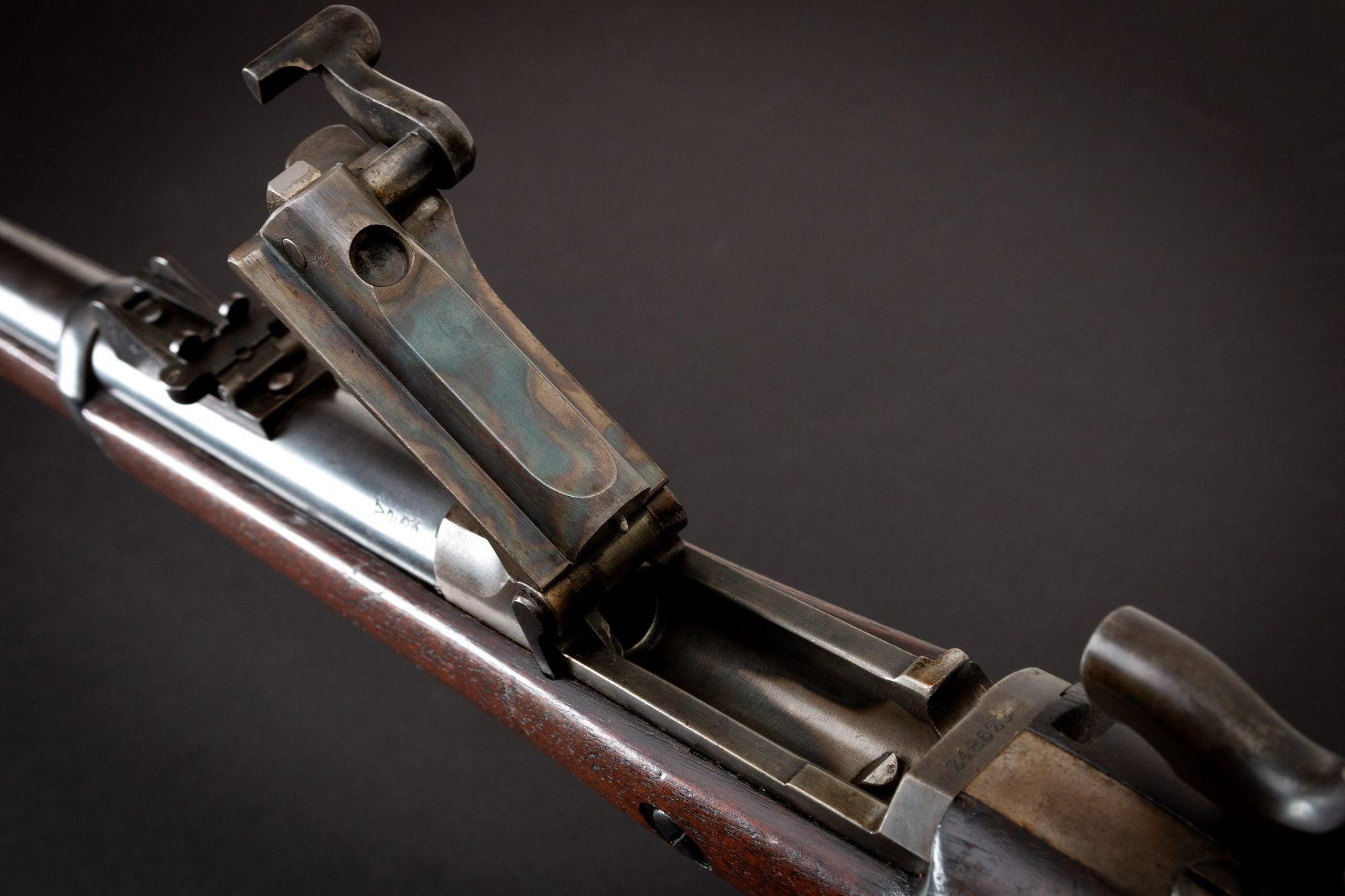 Photo of a Springfield Armory Model 1873 with 1883 cartouche, for sale by Turnbull Restoration of Bloomfield, NY