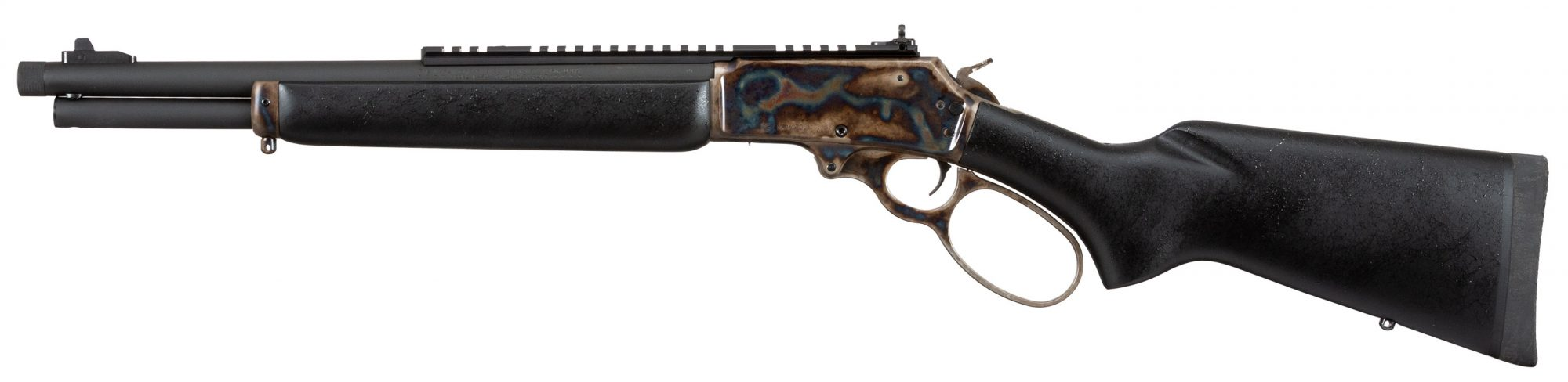 Photo of a Turnbull finished Marlin 1895 Dark, featuring bone charcoal color case hardening by Turnbull Restoration of Bloomfield, NY