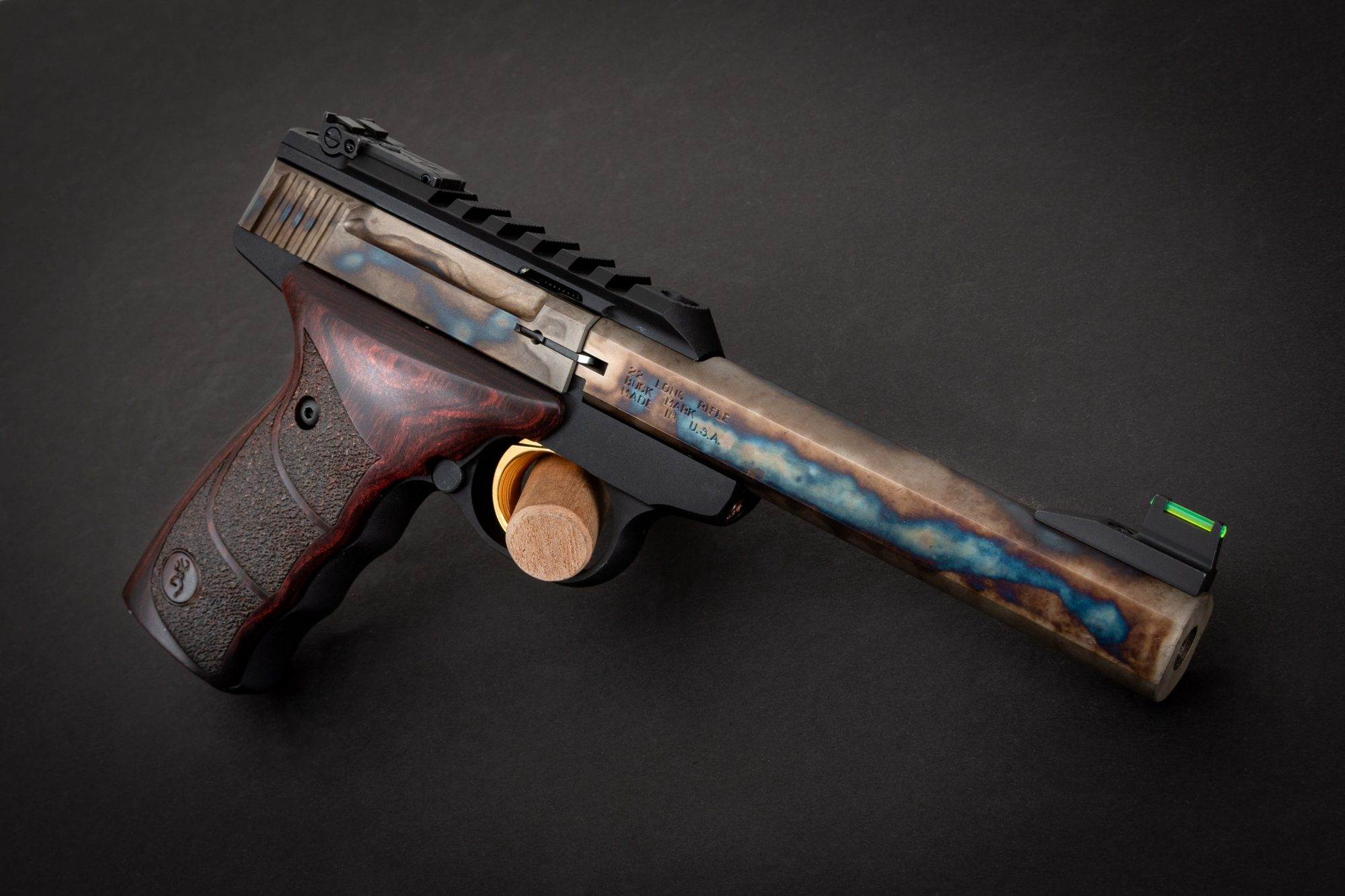 Photo of a Browning Buck Mark featuring bone charcoal color case hardening by Turnbull Restoration of Bloomfield, NY