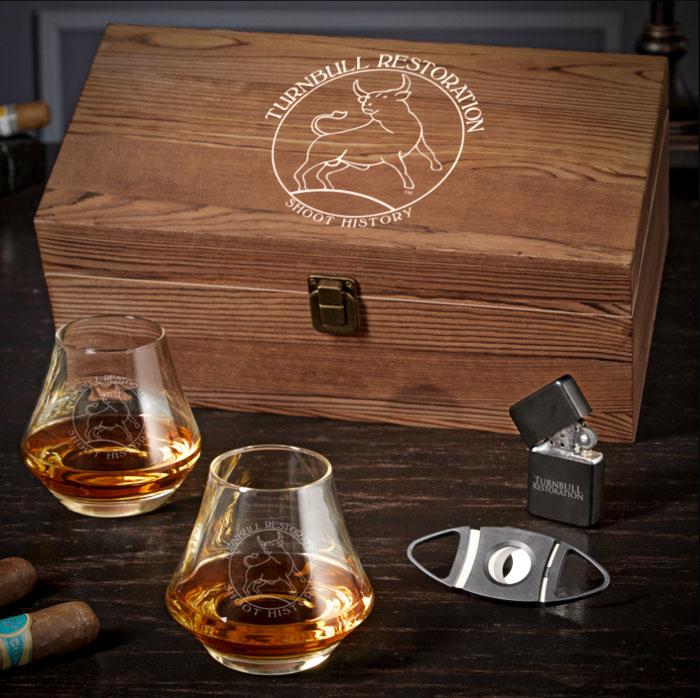 Photo of a Turnbull Restoration custom DiMera bourbon gift set
