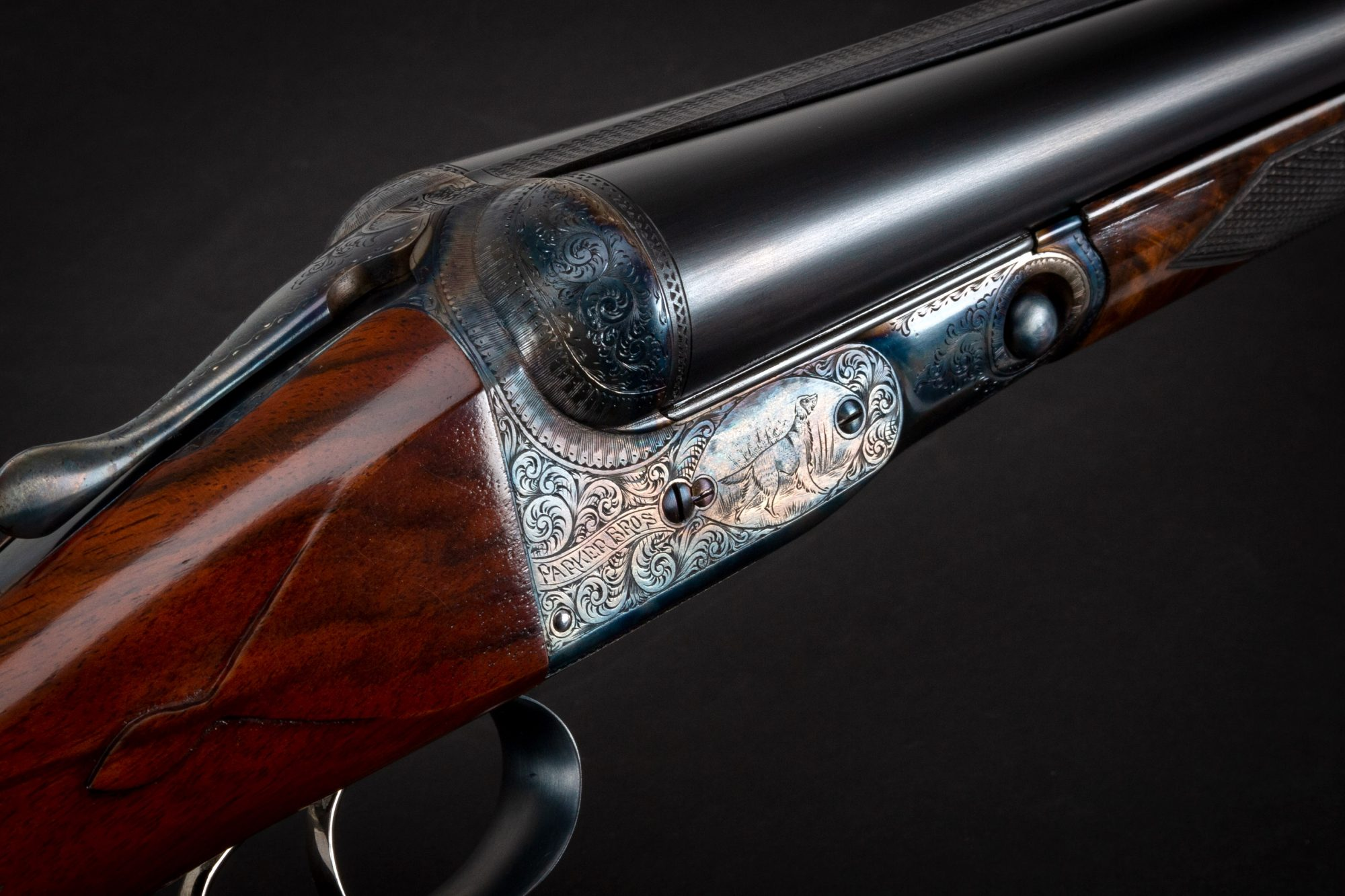 Photo of a Parker DHE side by side shotgun, after restoration by Turnbull Restoration Co. of Bloomfield, NY