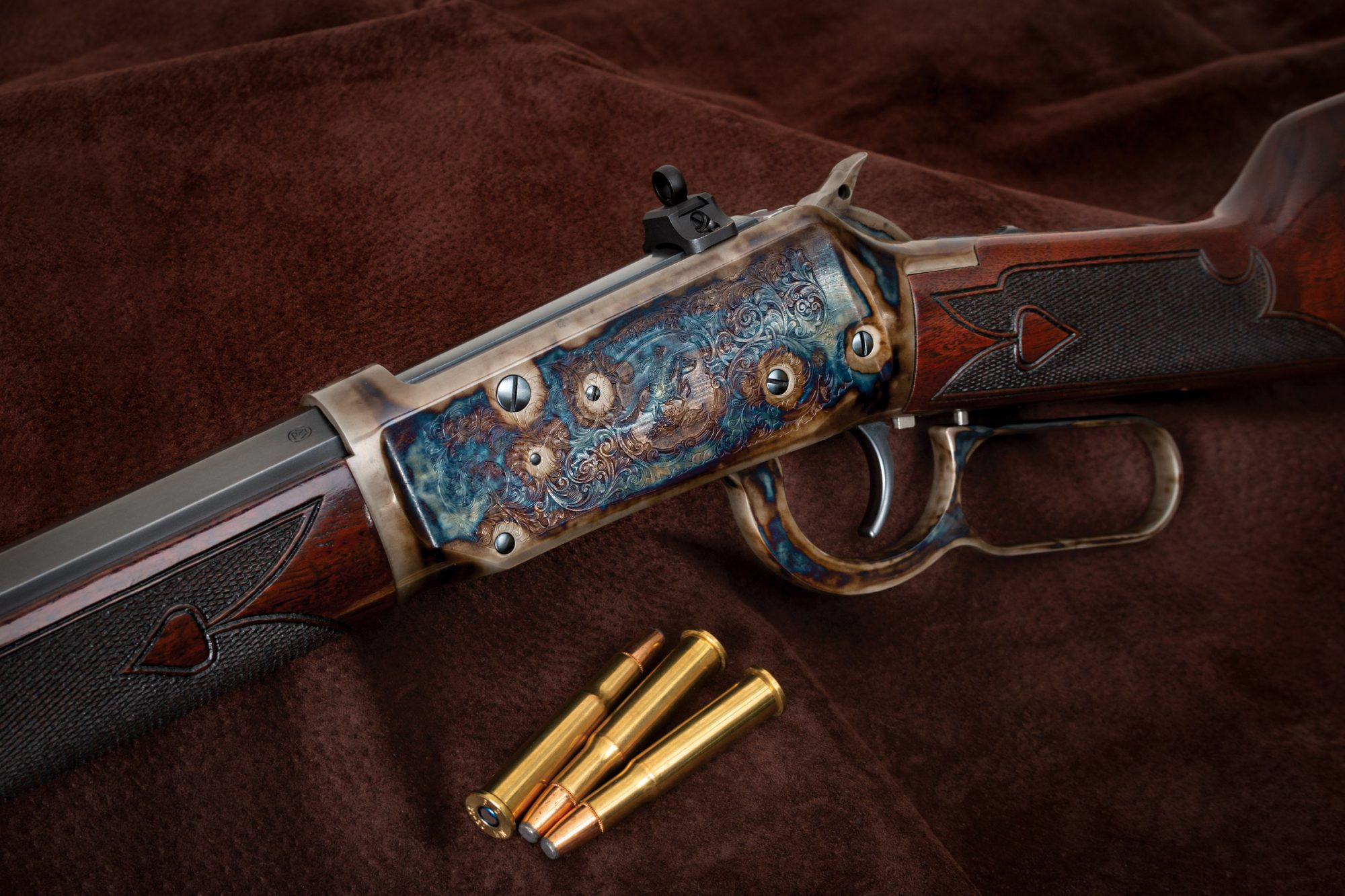 Photo of a modern production Winchester 1894 that has been refinished with restoration-grade finishes and techniques by Turnbull Restoration