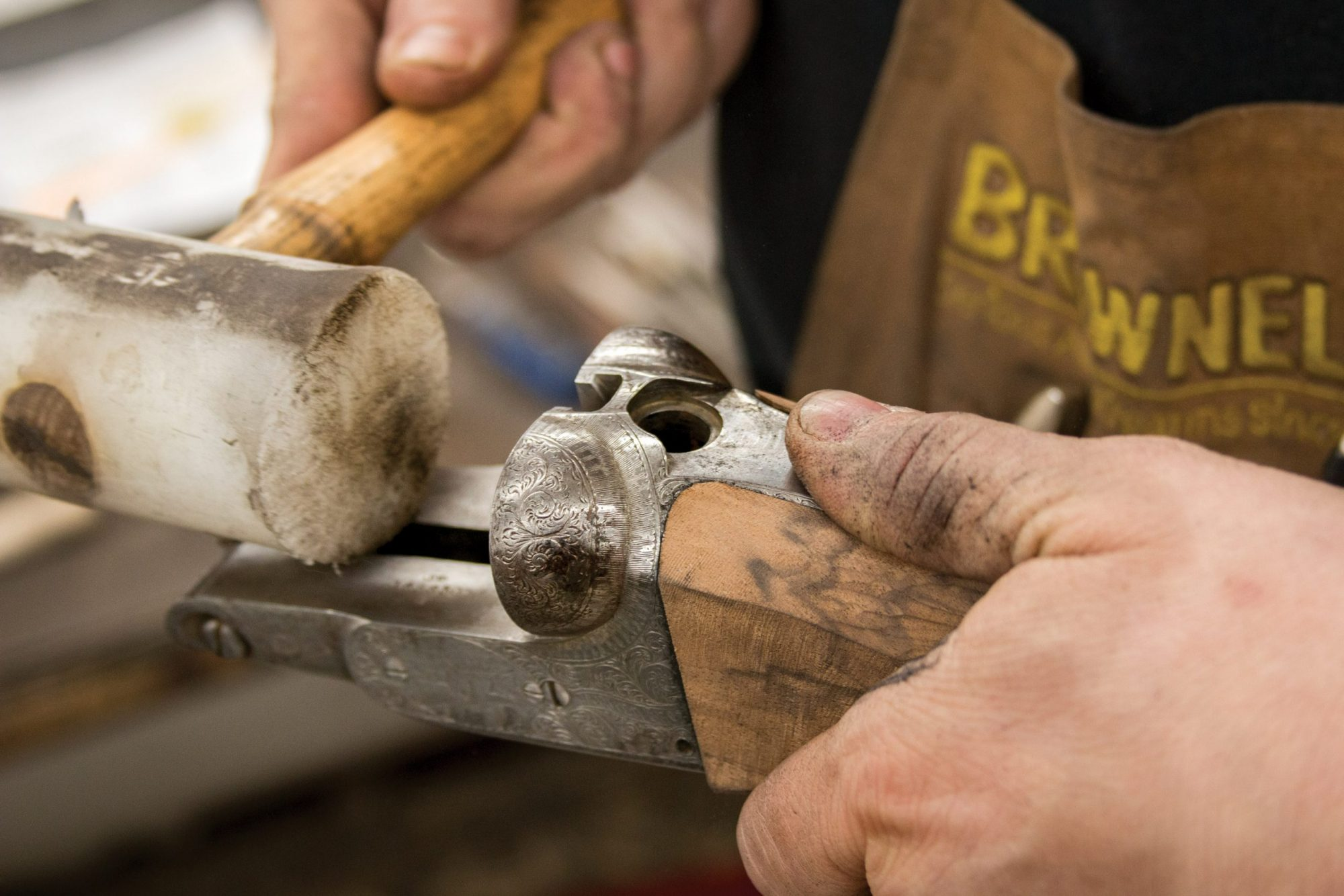 Photo of a Parker DHE side by side shotgun, during restoration by Turnbull Restoration Co. of Bloomfield, NY