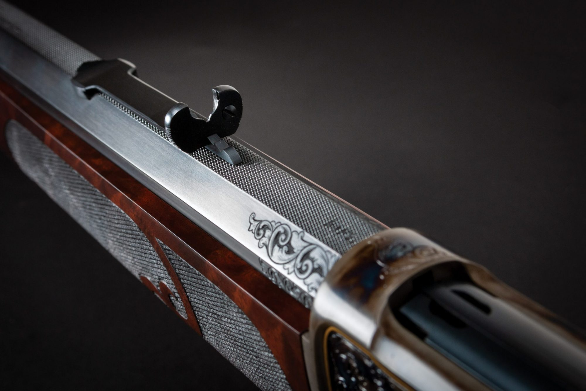 Photo of a restored and upgraded Winchester Model 1886 from 1892 chambered in .50-110. Period-correct restoration performed by Turnbull Restoration of Bloomfield, NY