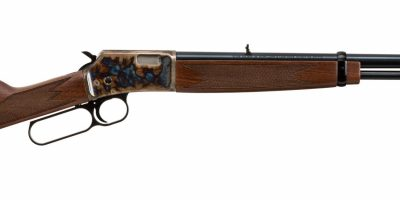 Photo of a Turnbull finished Browning BL-22 with upgraded walnut stocks, featuring bone charcoal color case hardening by Turnbull Restoration of Bloomfield, NY
