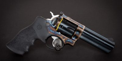 Photo of a color case hardened Ruger GP100, featuring bone charcoal color case hardening by Turnbull Restoration of Bloomfield, NY