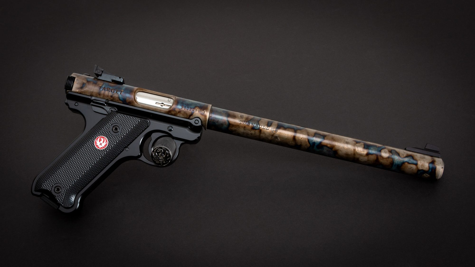 Photo of a color case hardened Ruger Mark IV Target 10 Inch Barrel, featuring bone charcoal color case hardening by Turnbull Restoration of Bloomfield, NY
