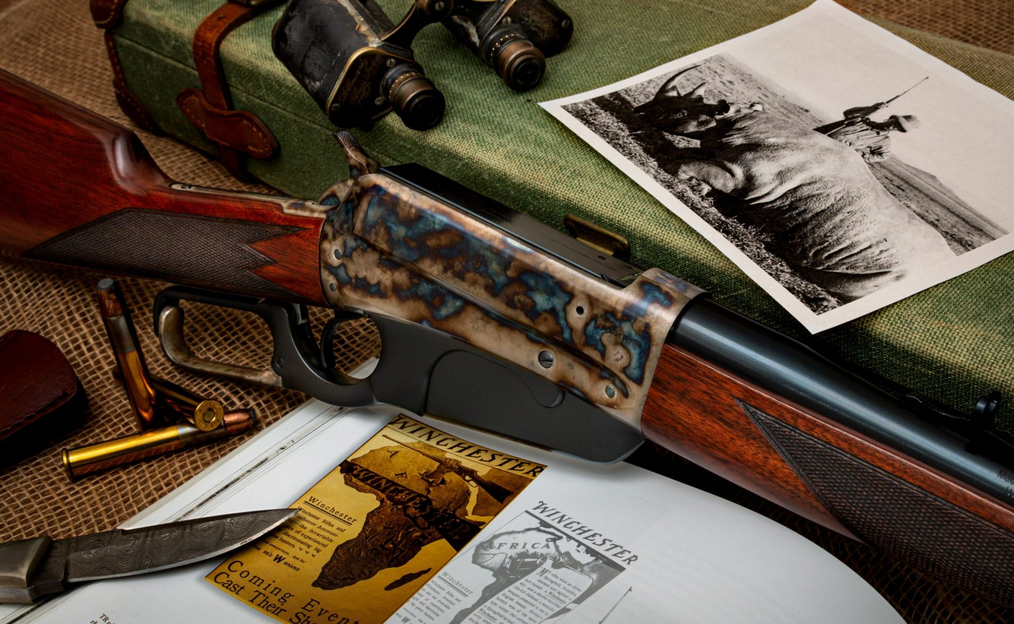 Photo of a color case hardened Winchester 1895, featuring bone charcoal color case hardening by Turnbull Restoration of Bloomfield, NY