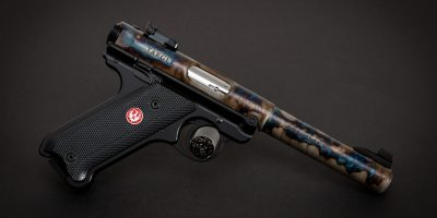 Photo of a color case hardened Ruger Mark IV Target, featuring bone charcoal color case hardening by Turnbull Restoration of Bloomfield, NY