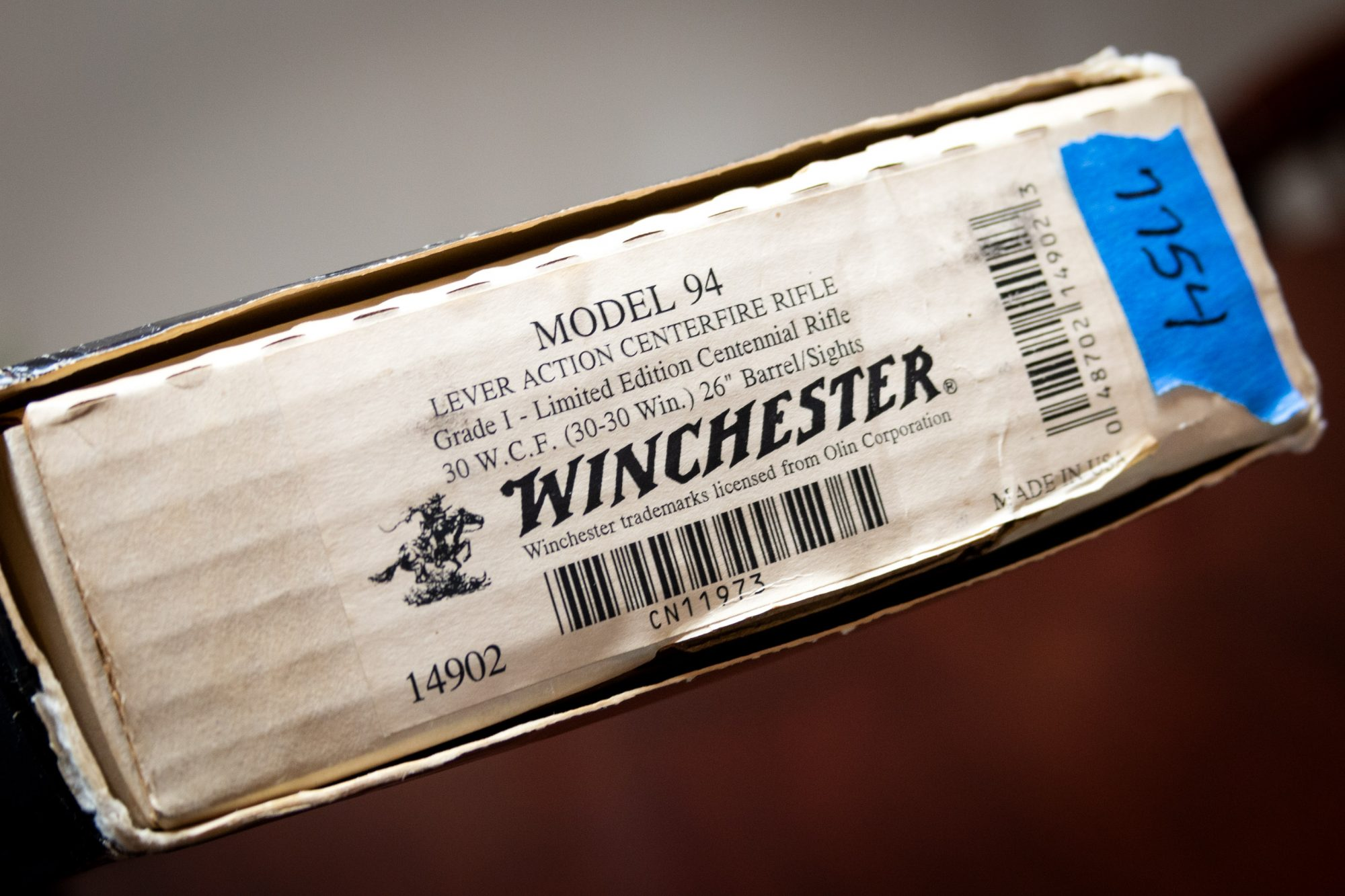 Photo of a pre-owned Winchester Model 94 Limited Edition Grade I Centennial Rifle, box