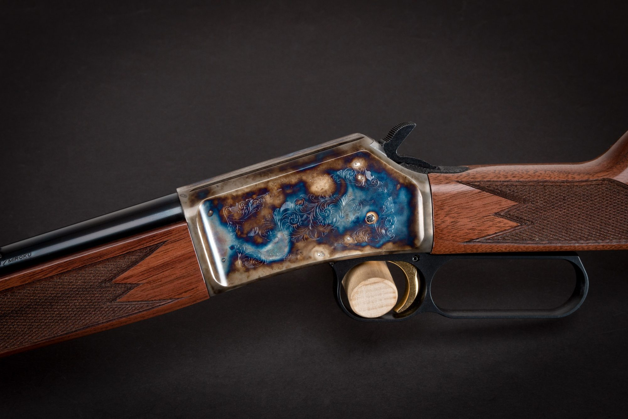 Photo of a color case hardened Browning BL-22 Field II rifle, featuring bone charcoal color case hardening by Turnbull Restoration of Bloomfield, NY