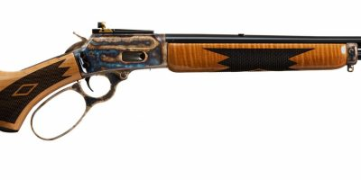 Photo of a color case hardened Marlin 1894C rifle, featuring bone charcoal color case hardening by Turnbull Restoration of Bloomfield, NY