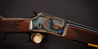 Photo of a color case hardened Browning BL-22 Grade II rifle, featuring bone charcoal color case hardening by Turnbull Restoration of Bloomfield, NY
