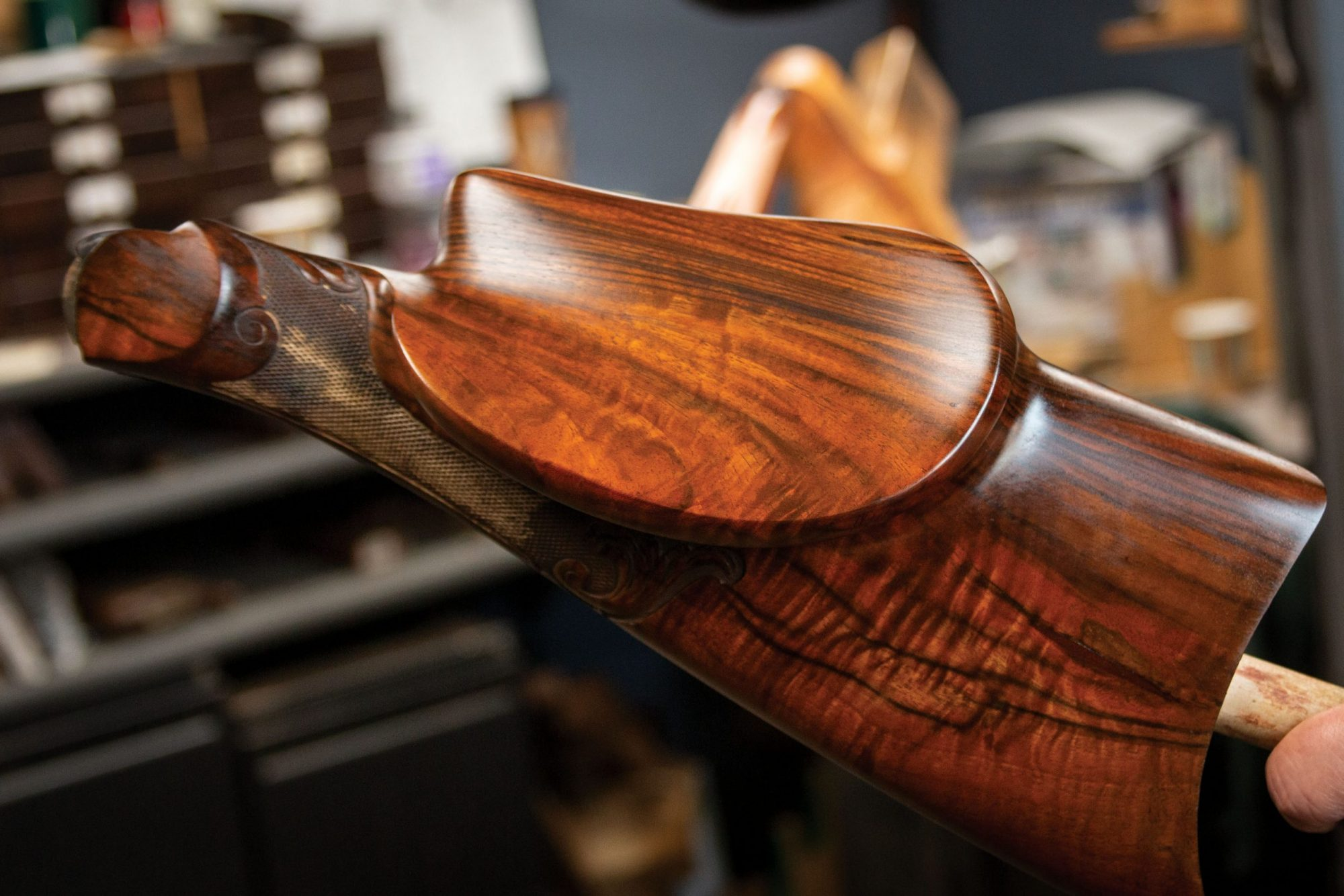 Photo of an engraved Martini style German Schuetzen rifle during restoration by Turnbull Restoration Co. of Bloomfield, NY