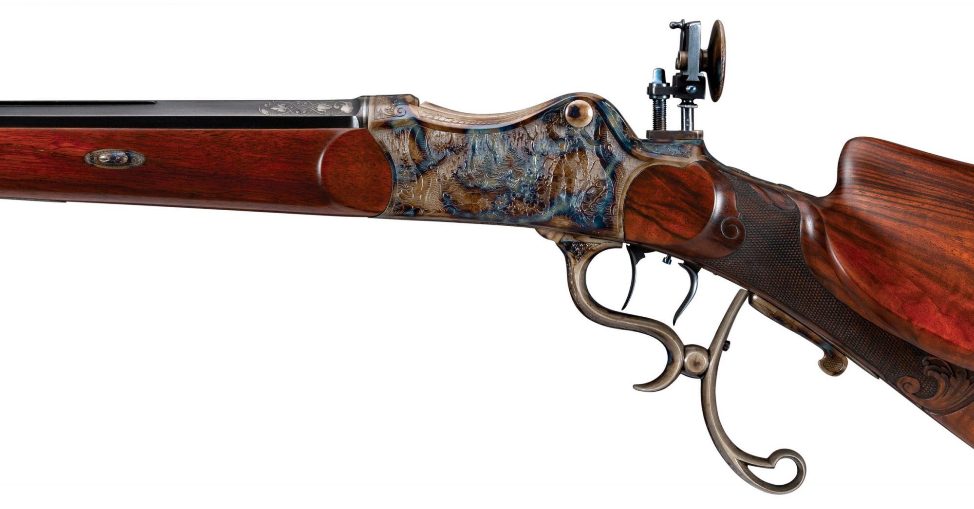 Photo of an engraved Martini style German Schuetzen rifle after restoration by Turnbull Restoration Co. of Bloomfield, NY