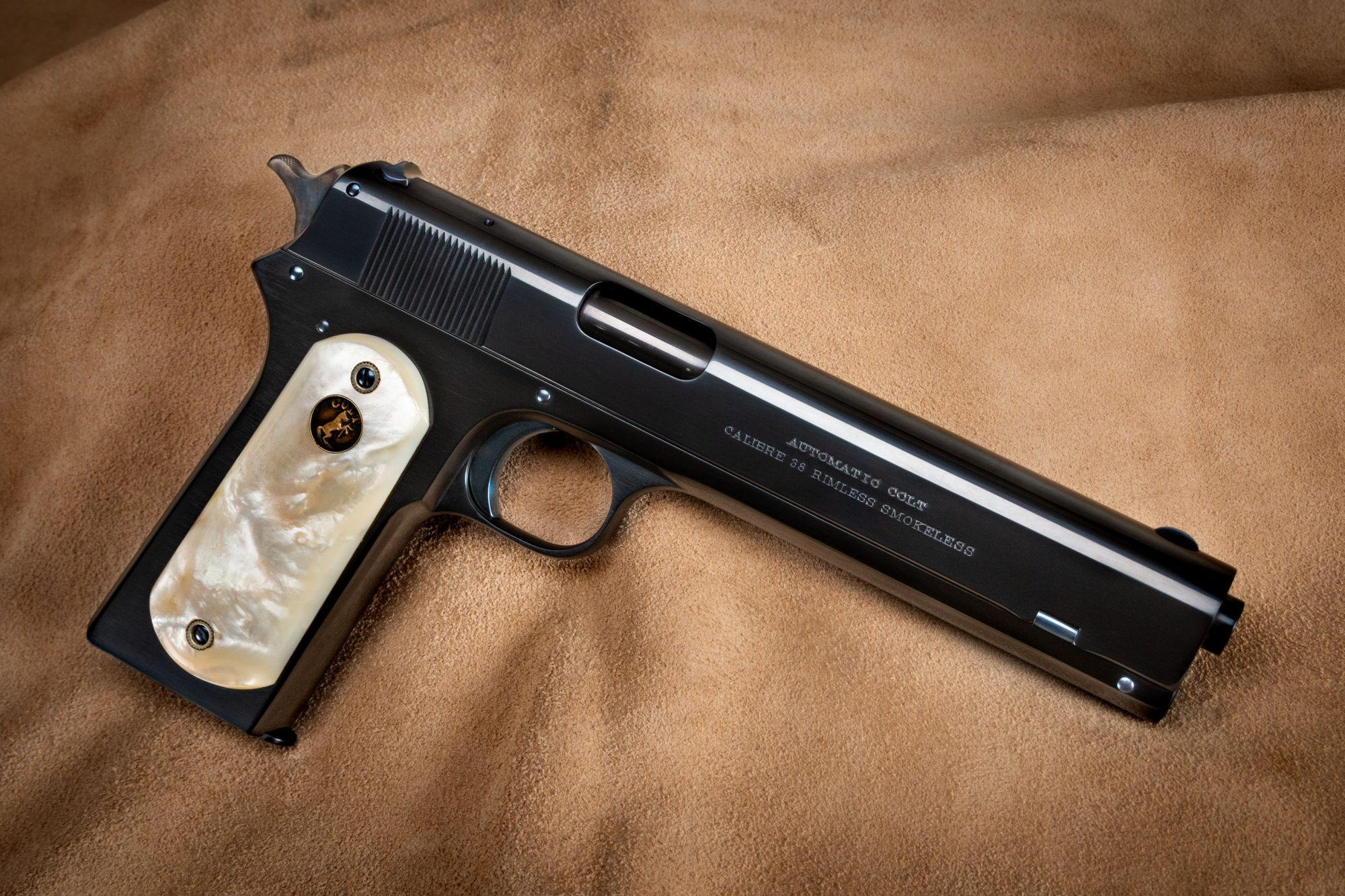 Photo of a Colt Model 1902 in .38 ACP from 1912, restored by Turnbull Restoration in 2019 and now for sale through the restorer's showroom in Bloomfield, NY