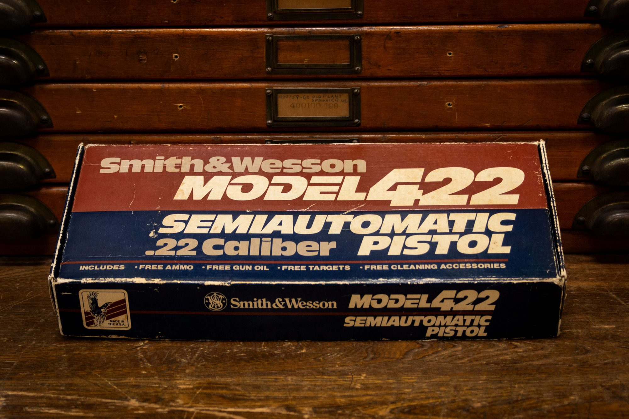 Photo of the original box for a pre-owned Smith & Wesson Model 422, for sale by Turnbull Restoration of Bloomfield, NY