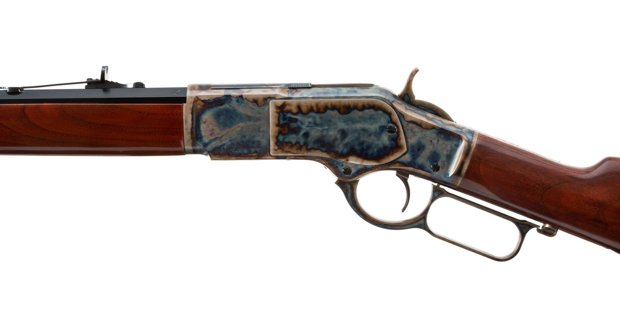 Photo of a new, color case hardened Winchester 1873 rifle, featuring bone charcoal color case hardening by Turnbull Restoration of Bloomfield, NY