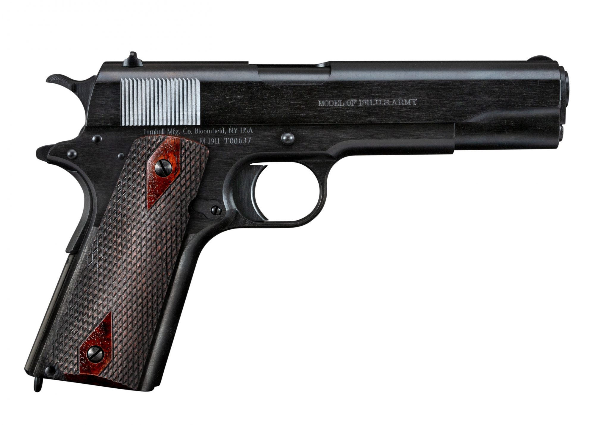 Photo of a Turnbull Model 1911 Black Army, a WWI-era Model 1911 reproduction built by Turnbull Restoration the experts of classic Model 1911 restoration