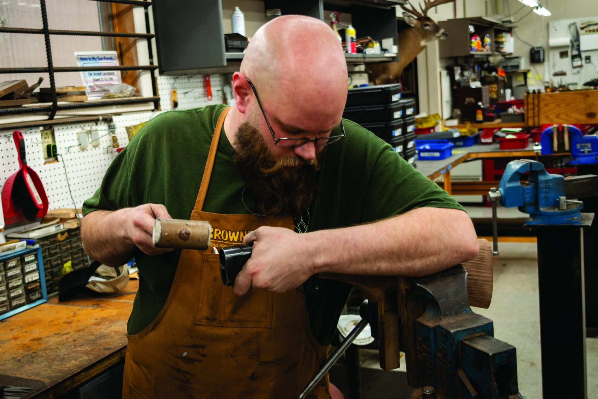 Photo of a Winchester Model 1897 undergoing restoration. Restoration work performed by Turnbull Restoration Co. of Bloomfield, NY