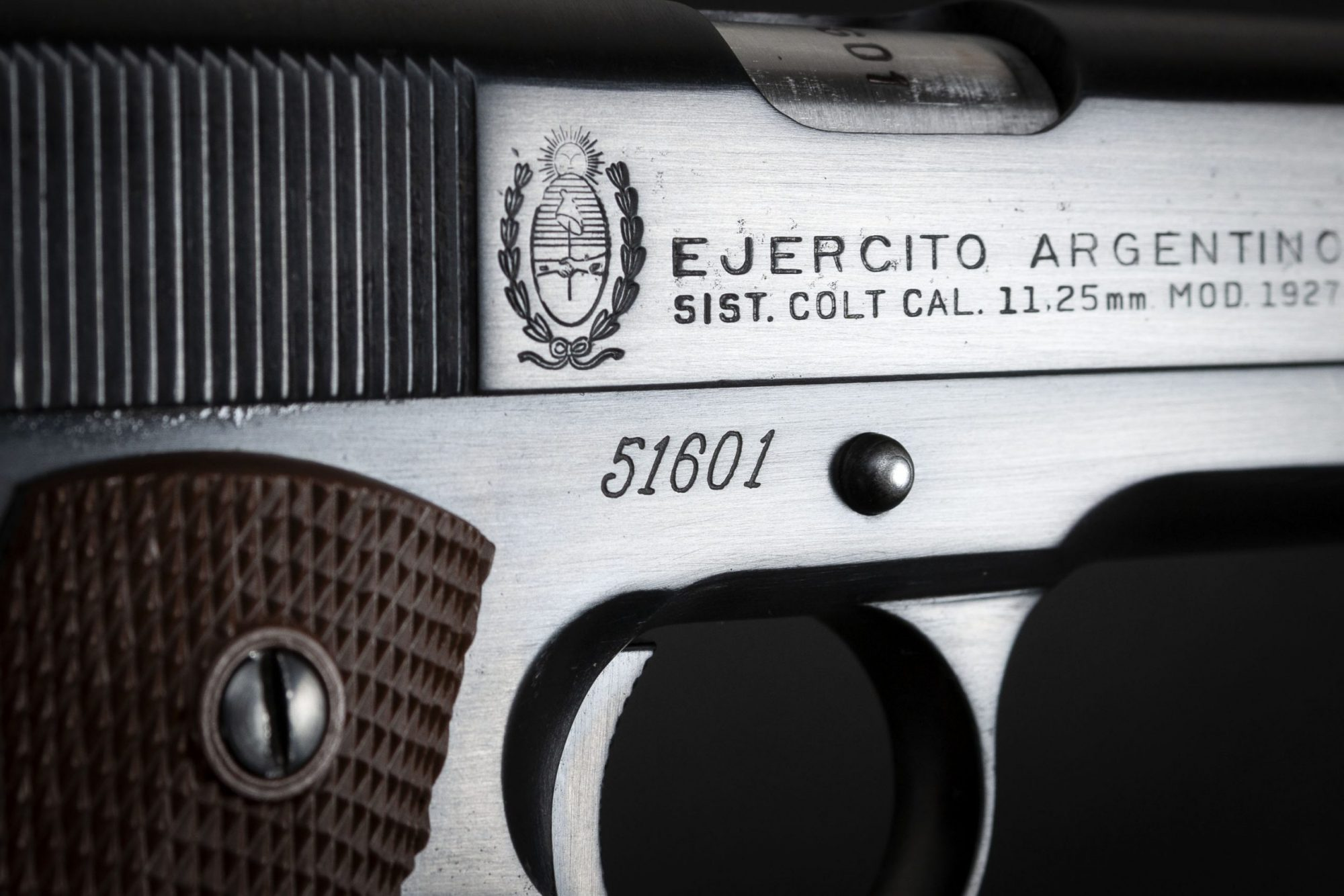 Photo of a Ejercito Argentino Sistema Colt Model 1927 in 11.25mm, for sale by Turnbull Restoration of Bloomfield, NY